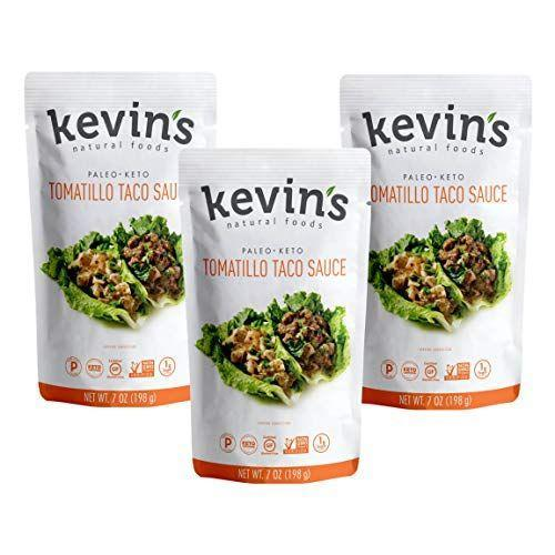 """<p><strong>Kevin's Natural Foods</strong></p><p>amazon.com</p><p><a href=""""https://www.amazon.com/dp/B0844NLKV6?tag=syn-yahoo-20&ascsubtag=%5Bartid%7C10055.g.32971830%5Bsrc%7Cyahoo-us"""" rel=""""nofollow noopener"""" target=""""_blank"""" data-ylk=""""slk:Shop Now"""" class=""""link rapid-noclick-resp"""">Shop Now</a></p><p>Kevin's Natural Foods boasts an incredible line of simmer sauces ranging from tikka masala to teriyaki sauce. Our favorite pick is their Tomatillo Taco Sauce which is perfect on homemade chicken lettuce wraps or in your own burrito bowl.<strong> The first four ingredients are tomatillos, water, onion, and roasted poblano chilies</strong> (the rest of the ingredient list is just as impressive), and the two-tablespoon serving only has 10 calories, 115 mg sodium, and 1 gram of sugar. </p>"""