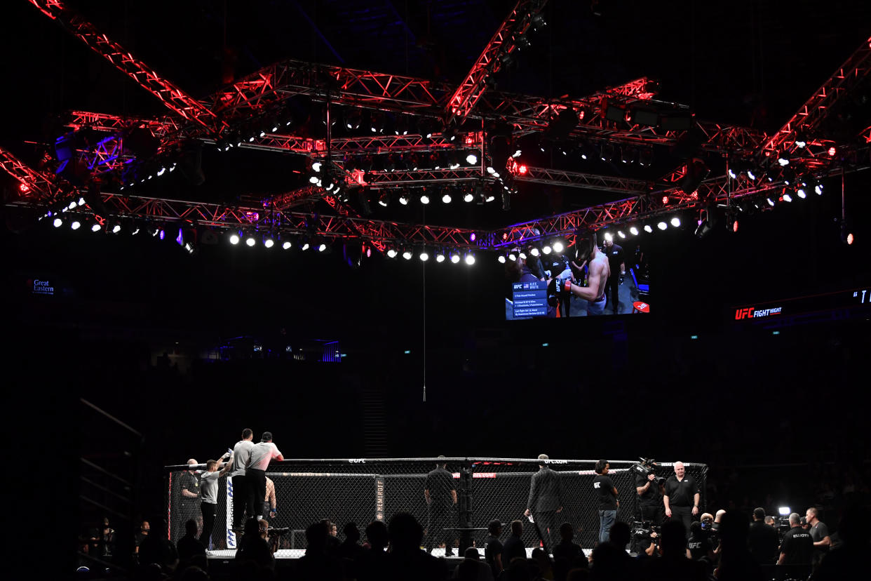 A view of the Octagon at a UFC event.