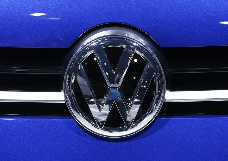 A Volkswagen logo is pictured on a car on the company's booth during the second media day of the 86th International Motor Show in Geneva