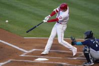Los Angeles Angels designated hitter Shohei Ohtani (17) hits a home run during the first inning of a baseball game against the Seattle Mariners Saturday, June 5, 2021, in Anaheim, Calif. (AP Photo/Ashley Landis)