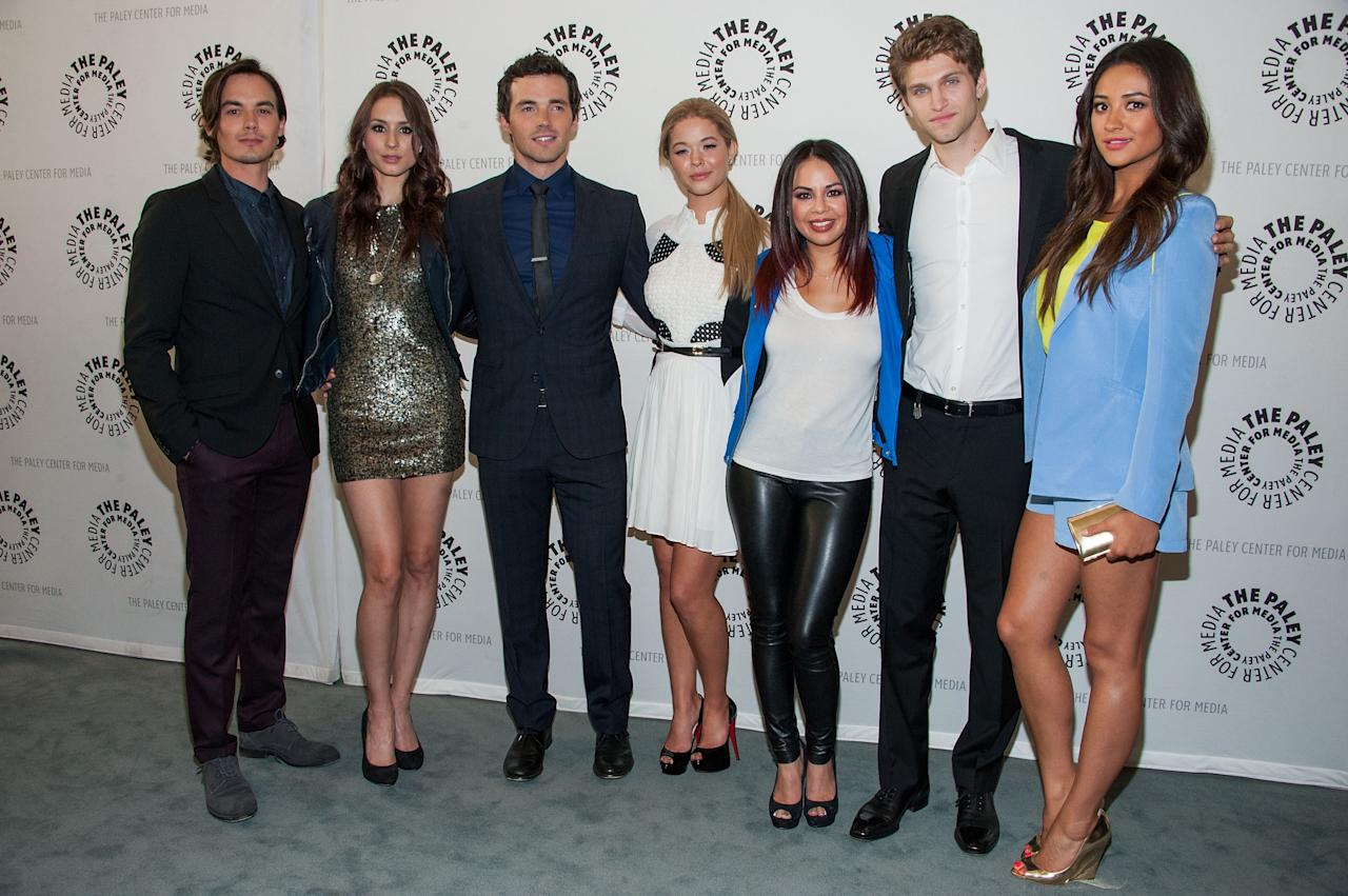 "BEVERLY HILLS, CA - JUNE 10: Tyler Blackburn, Troian Bellisario, Ian Harding, Sasha Pieterse, Janel Parrish, Keegan Allen and Shay Mitchell attends The Paley Center For Media Presents An Evening With ""Pretty Little Liars"" at The Paley Center for Media on June 10, 2013 in Beverly Hills, California. (Photo by Valerie Macon/Getty Images)"