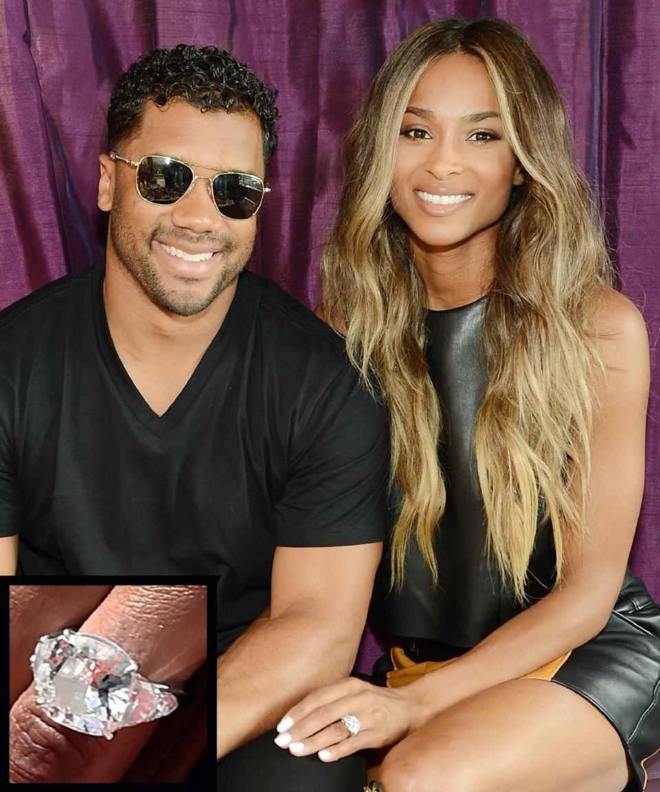 """<p>Singer Ciara announced her <a rel=""""nofollow noopener"""" href=""""http://www.instyle.com/news/ciara-engaged-russell-wilson"""" target=""""_blank"""" data-ylk=""""slk:engagement"""" class=""""link rapid-noclick-resp"""">engagement</a> to Russell Wilson on Instagram in March 2016. The flawless ring is a brilliant-cut diamond reported to be 16 carats.</p>"""
