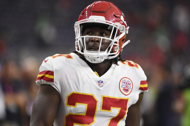 Kareem Hunt was cut by the Chiefs after video emerged that showed him shoving and kicking a woman. (AP Photo)
