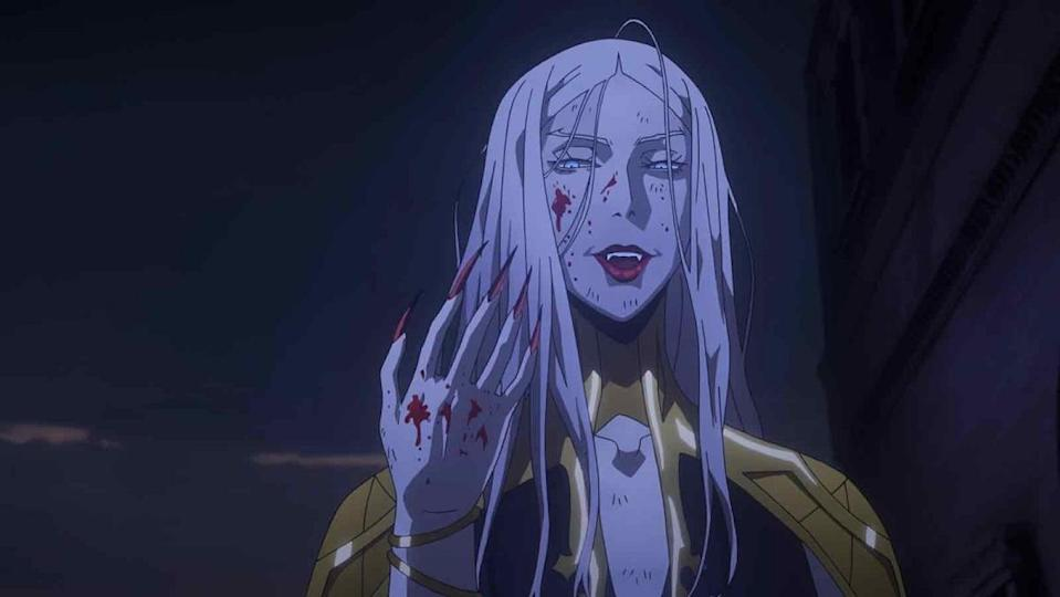Carmilla drenched in blood in Netflix's Castlevania animated series.