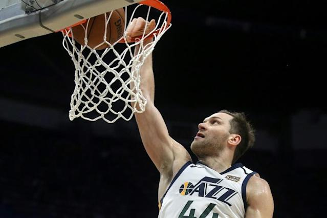 Croatian forward Bojan Bogdanovic of the Utah Jazz will miss the remainder of the halted 2019-20 NBA season after reportedly deciding to undergo right wrist surgery, but should be fully recovered in time for next season (AFP Photo/Chris Graythen)