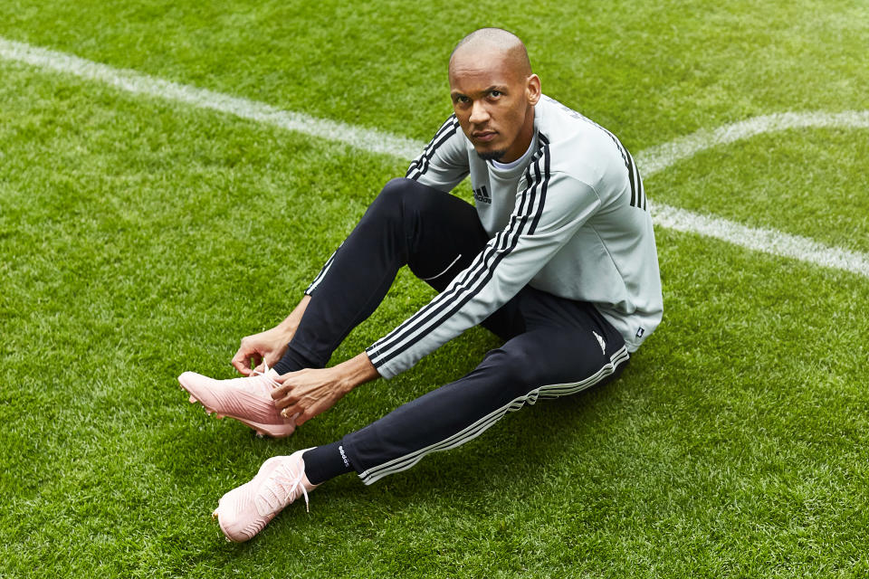 """<em><strong>Fabinho currently wears the new Predator 18+ Spectral Mode boots, available from <a href=""""http://adidas.co.uk/"""" rel=""""nofollow noopener"""" target=""""_blank"""" data-ylk=""""slk:adidas.co.uk"""" class=""""link rapid-noclick-resp"""">adidas.co.uk</a></strong></em>"""