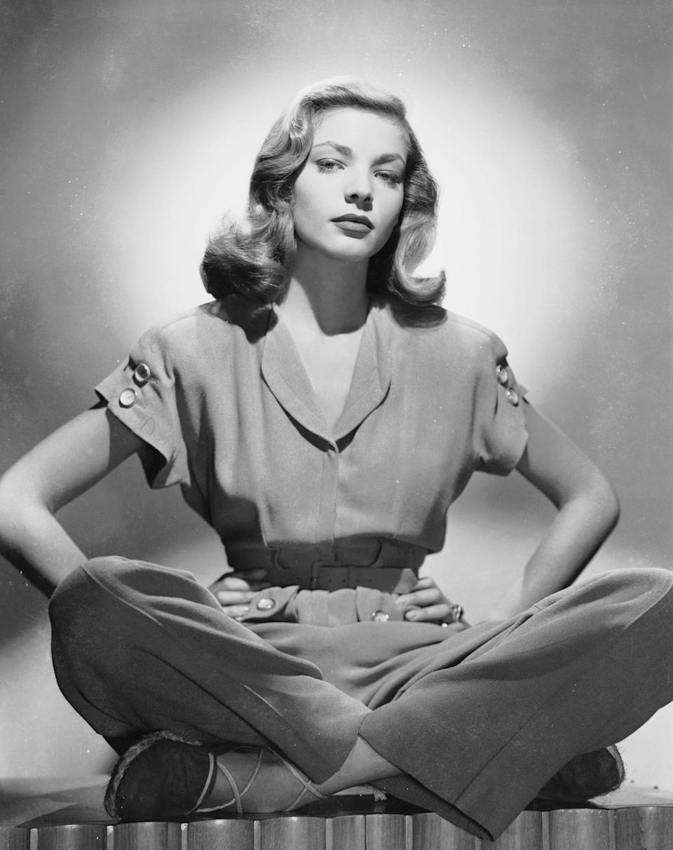 Lauren Bacall in a trouser suit, circa 1945.