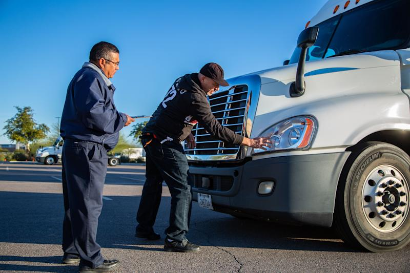 A driver does a test at Walmart's hiring event in Casa Grande, Arizona.