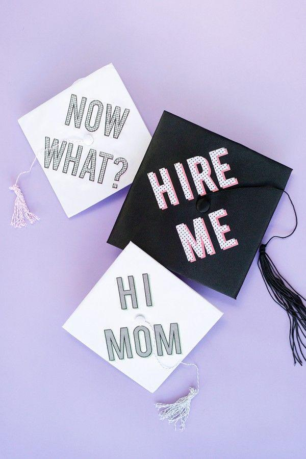 "<p>Your grad may want to include a funny message on their graduation cap, which you can DIY using this tutorial. Make a few of your own and display them later at the party as fun décor. </p><p><strong>Get the tutorial at <a href=""https://studiodiy.com/diy-graduation-cap-messages/"" rel=""nofollow noopener"" target=""_blank"" data-ylk=""slk:Studio DIY"" class=""link rapid-noclick-resp"">Studio DIY</a>.</strong></p><p><a class=""link rapid-noclick-resp"" href=""https://go.redirectingat.com?id=74968X1596630&url=https%3A%2F%2Fwww.walmart.com%2Fip%2FCricut-Printable-8-5-x11-White%2F44128077&sref=https%3A%2F%2Fwww.thepioneerwoman.com%2Fhome-lifestyle%2Fentertaining%2Fg36014713%2Fgraduation-party-ideas%2F"" rel=""nofollow noopener"" target=""_blank"" data-ylk=""slk:SHOP CRICUT PRINTABLE VINYL"">SHOP CRICUT PRINTABLE VINYL</a></p>"