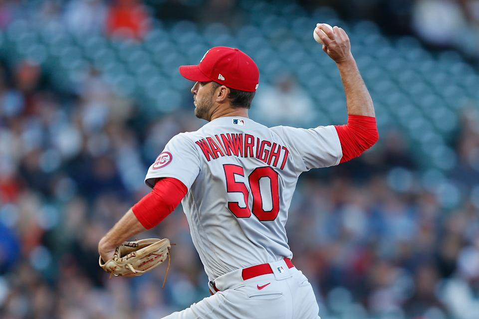 SAN FRANCISCO, CALIFORNIA - JULY 06: Adam Wainwright #50 of the St. Louis Cardinals pitches in the bottom of the first inning  against the San Francisco Giants at Oracle Park on July 06, 2021 in San Francisco, California. (Photo by Lachlan Cunningham/Getty Images)