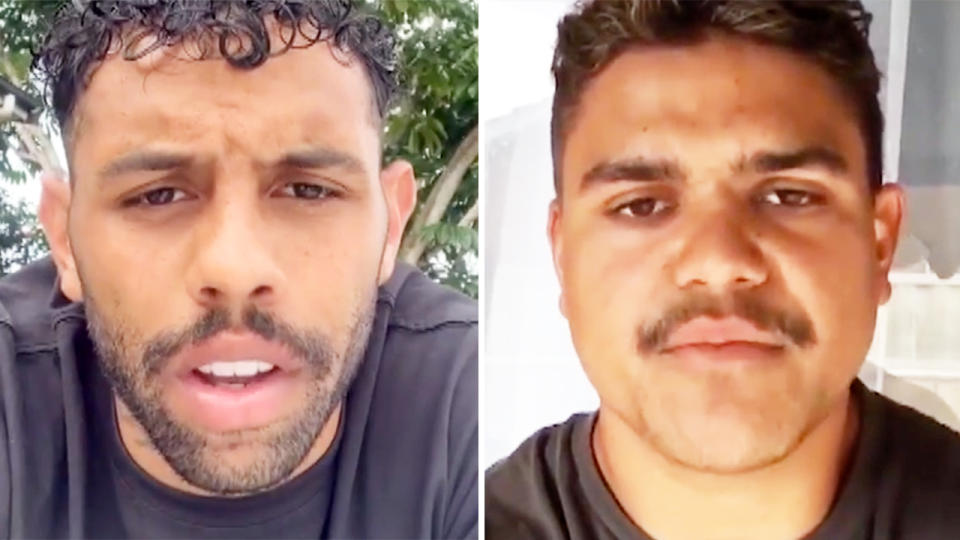 Josh Addo-Carr and Latrell Mitchell, pictured here apologising for their breach.