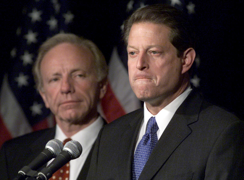Al Gore, right, and Joseph Lieberman