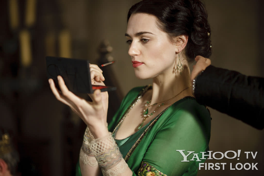 "Katie McGrath pauses for a moment before shooting a scene with ""good"" Morgana, before her fall and exile from Camelot."