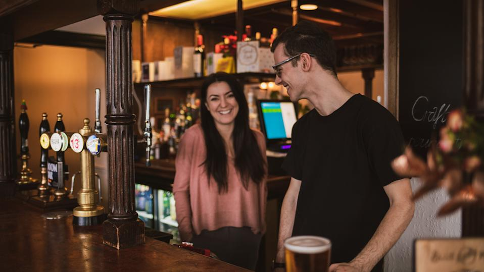 The lockdown meant the Angel & Crown in Bow, east London, had to close shortly after reopening under new landlady Mel Keown (pictured, left, with a colleague) but is selling takeaway pints. (Liva Puce)