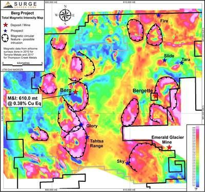 Figure 4. Merged 2010 and 2017 total magnetic intensity geophysics, displaying known mineral showings and prospects on the Berg Property. (CNW Group/Surge Copper Corp.)