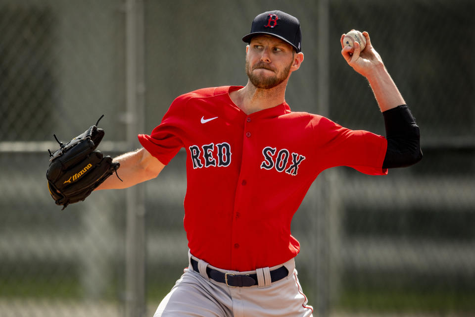 FT. MYERS, FL - FEBRUARY 20: Chris Sale #41 of the Boston Red Sox pitches during a team workout on February 20, 2020 at jetBlue Park at Fenway South in Fort Myers, Florida. (Photo by Billie Weiss/Boston Red Sox/Getty Images)