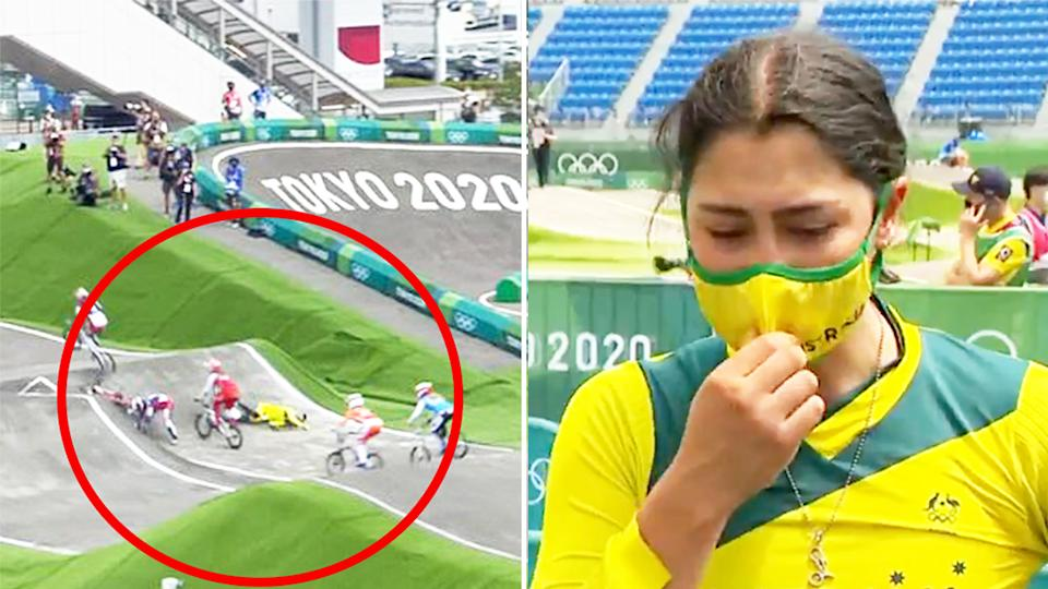 Saya Sakakibara (pictured right) tearing up in an interview following a crash (pictured left) at the Tokyo Olympics BMX event.