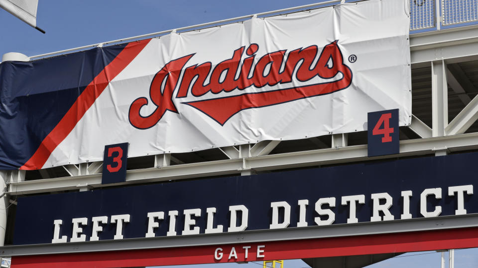 """A sign reading """"Indians"""" at Progressive Field in Cleveland."""