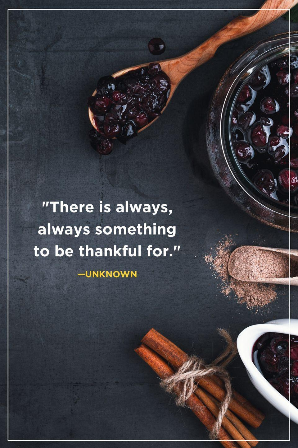 """<p>""""There is always, always something to be thankful for.""""</p>"""
