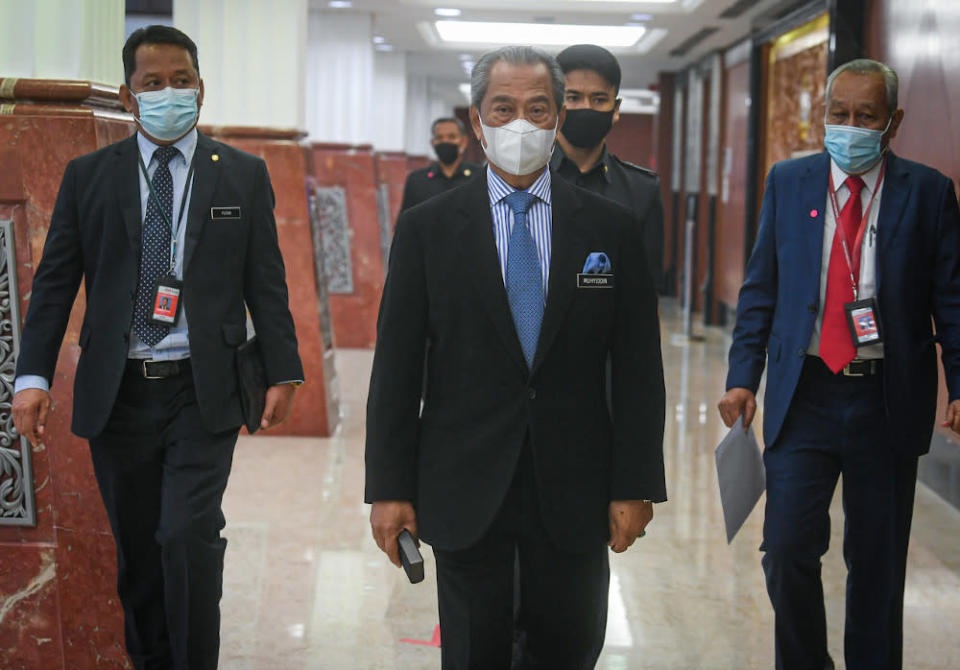 Prime Minister Tan Sri Muhyiddin Yassin attending the Third Meeting of the Third Term of the 14th Parliament in Kuala Lumpur, November 9, 2020. — Bernama pic