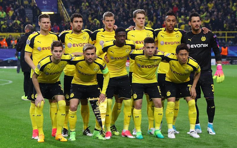 Borussia Dortmund team before the match against Monaco - Credit: Kai Pfaffenbach /Reuters