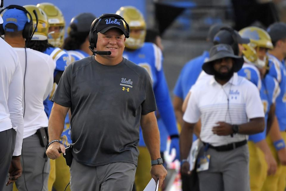 UCLA coach Chip Kelly walks the sideline during a game against Oklahoma in September 2019.