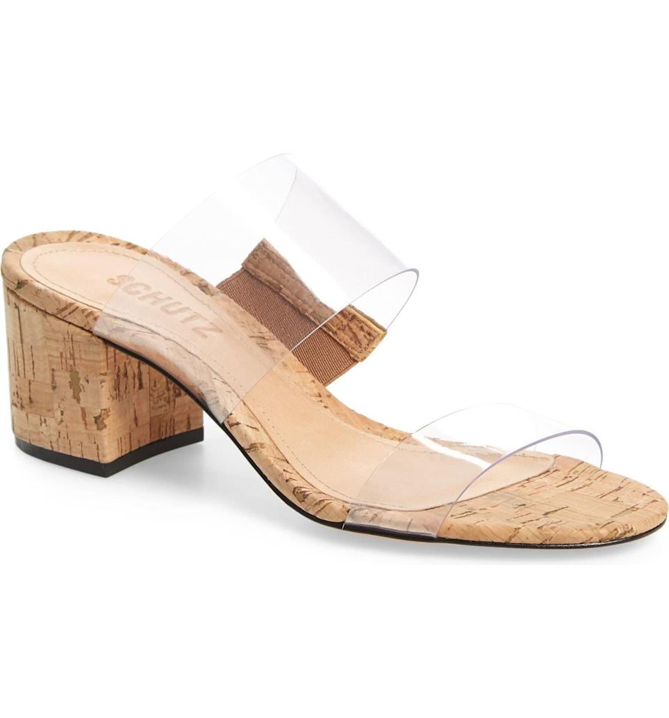 <p>If you're going out this summer, you need this <span>Schutz Victorie Slide Sandal</span> ($145) in your arsenal. It's very comfortable, and because it's clear, goes with literally everything. You're welcome.</p>