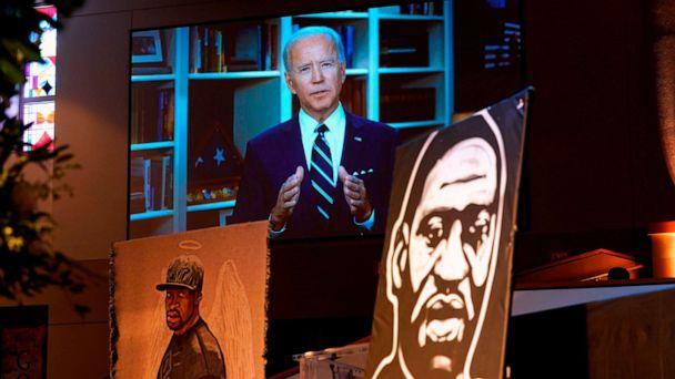 PHOTO: Former Vice President Joe Biden speaks via video link as family and guests attend the funeral service for George Floyd at The Fountain of Praise Church on June 9, 2020, in Houston. (David J. Phillip/Pool/AFP via Getty Images)