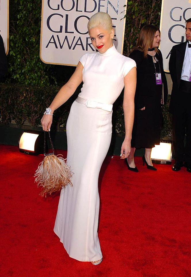 "Gwen Stefani's 2004 gown was gorgeous, but the ""Hollaback Girl"" singer would've looked better in something more colorful. Oh, and her purse -- which resembled a dead head of lettuce -- needed to go. Steve Granitz/<a href=""http://www.wireimage.com"" target=""new"">WireImage.com</a> - January 25, 2004"