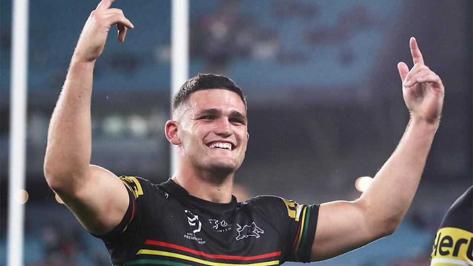 Nathan Cleary (pictured) celebrating after a Penrith win.