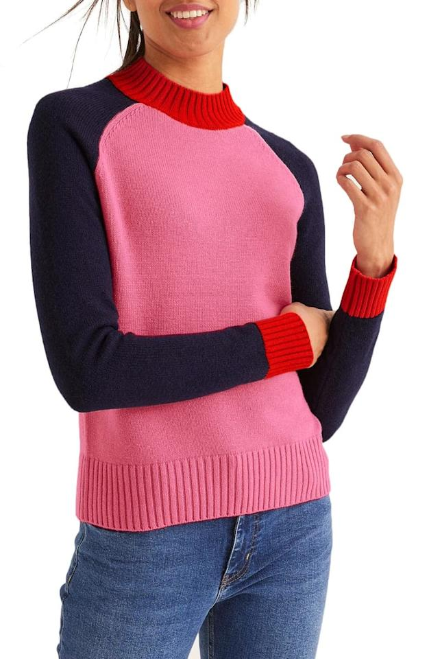 "<p>The colors of this <a href=""https://www.popsugar.com/buy/Boden-Flora-Sweater-493847?p_name=Boden%20Flora%20Sweater&retailer=shop.nordstrom.com&pid=493847&price=120&evar1=fab%3Auk&evar9=45252127&evar98=https%3A%2F%2Fwww.popsugar.com%2Ffashion%2Fphoto-gallery%2F45252127%2Fimage%2F46672700%2FBoden-Flora-Sweater&list1=shopping%2Cfall%20fashion%2Csweaters%2Cfall%2Cwinter%20fashion&prop13=api&pdata=1"" rel=""nofollow"" data-shoppable-link=""1"" target=""_blank"" class=""ga-track"" data-ga-category=""Related"" data-ga-label=""https://shop.nordstrom.com/s/boden-flora-sweater/5387241?origin=category-personalizedsort&amp;breadcrumb=Home%2FWomen%2FClothing%2FSweaters&amp;color=crayon%20pink%2F%20navy%20colourblock"" data-ga-action=""In-Line Links"">Boden Flora Sweater </a> ($120) are so fun.</p>"