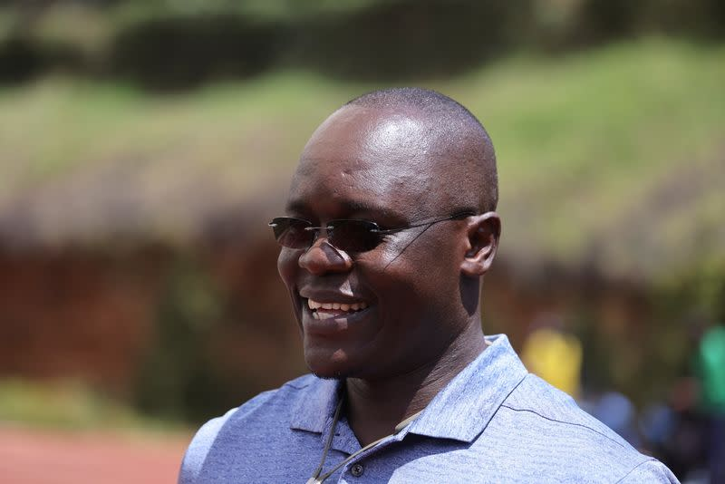 Bernard Ouma, the coach of Timothy Cheruiyot, the winner of the 1500 meters gold medal at the 2019 World Athletics Championships in Doha, speaks to Reuters during a training session in Nairobi