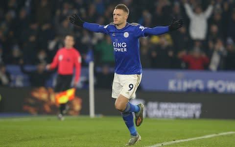 <span>James Maddison knows Jamie Vardy is going to score just by looking at him in the changing room</span> <span>Credit: Getty Images </span>