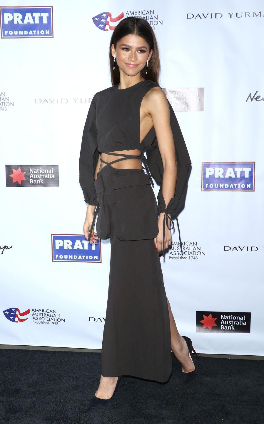 <p>Zendaya attended the 2020 AAA Arts Awards wearing a cut-out Christopher Esber look. </p>