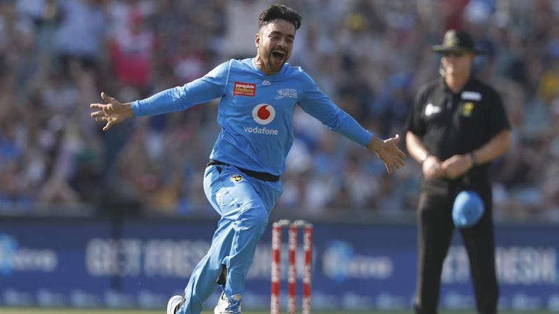 A Rashid Khan hat-trick could not prevent the Sydney Sixers beating the Strikers in Adelaide