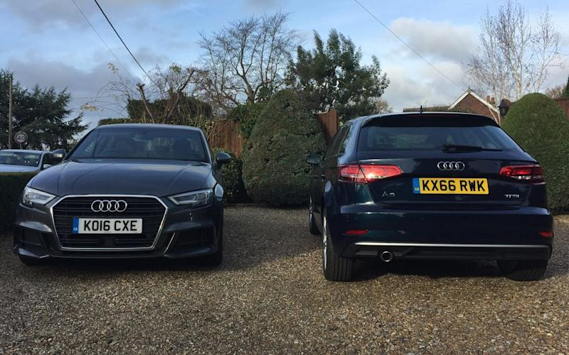 The outgoingAudi A3 Saloon (left) and the new A3 Sportback
