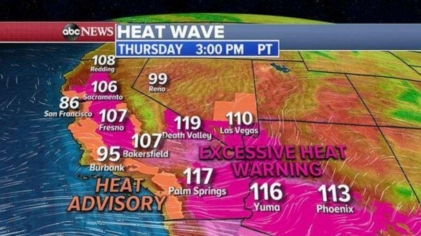 PHOTO: Warm weather is expected Thursday in the Southwest. (ABC News)
