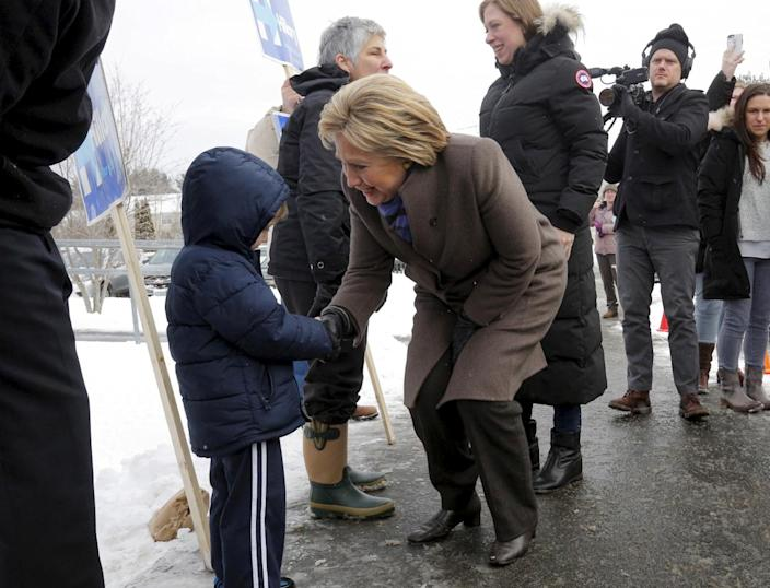<p>Democratic presidential candidate Hillary Clinton greets supporters outside a polling place in Derry, N.H., on Feb. 9, 2016. <i>(Photo: Brian Snyder/Reuters)</i></p>