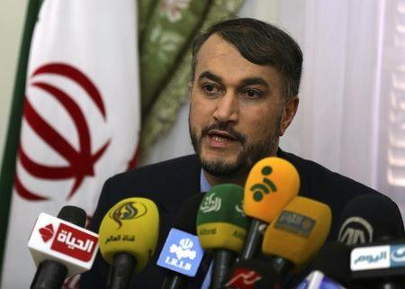Hossein Amir-Abdollahian, Iran's envoy to the Organisation of Islamic Cooperation, speaks during a news conference in Cairo
