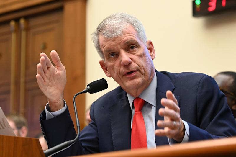 "Wells Fargo CEO Tim Sloan testifies before a House Financial Services Committee hearing titled: ""Holding Megabanks Accountable: An Examination of Wells Fargo's Pattern of Consumer Abuses"" in Washington, U.S. March 12, 2019. REUTERS/Erin Scott"