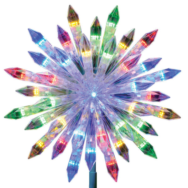 This undated photo shows Lowes' rainbow-hued color changing starburst tree topper. In keeping with the trend towards 70s and 80s home décor, consider dressing up the home with some sparkle and color that evokes the festive party aspect of those eras. (Lowe's Home Improvement via AP)