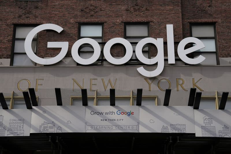 FILE PHOTO: A Google sign is pictured on a New York building