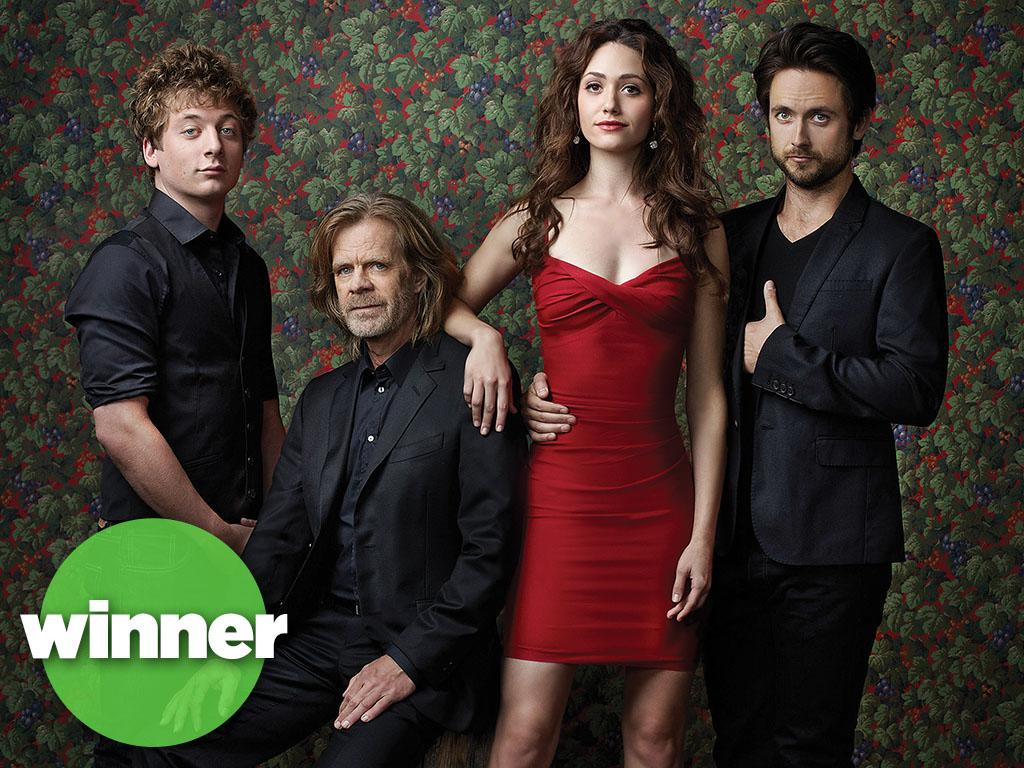 Jeremy Allen White as Lip Gallagher, William H. Macy as Frank Gallagher, Emmy Rossum as Fiona Gallagher and Justin Chatwin as Steve  in Shameless (Season 3) - Photo: Courtesy of SHOWTIME - Photo ID: SHAME3_PR03_DRESSGROUP_4C_300