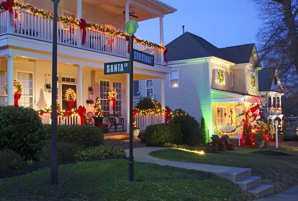 """<p>The small town outside of Charlotte remains quiet throughout most of the year, but as the holidays near, it transforms into <a href=""""https://www.mcadenville-christmastown.com/"""" rel=""""nofollow noopener"""" target=""""_blank"""" data-ylk=""""slk:Christmas Town U.S.A"""" class=""""link rapid-noclick-resp"""">Christmas Town U.S.A</a>. This year marks the town's 64th Christmas celebration that includes over 250 lit-up Christmas trees, seasonal music playing nightly from McAden Mills Bell Tower, and 160 homes uniquely decorated by the homeowner, just to name a few. <br></p>"""