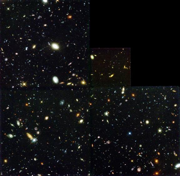 This seminal 1995 image was taken by the Hubble Space Telescope. Called the Hubble Deep Field, it collected light over many hours to reveal the deepest view of the universe yet, which included thousands of distant galaxies.