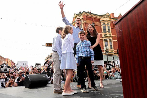PHOTO: Democratic presidential candidate and former Texas congressman Beto O'Rourke acknowledges the crowd as he arrives on stage with his family at his presidential campaign kickoff in El Paso, Texas, March 30, 2019. (Gerald Herbert/AP)