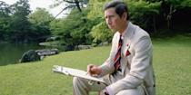 <p>Sketching in the gardens of Omiya Palace during his tour of Japan. </p>