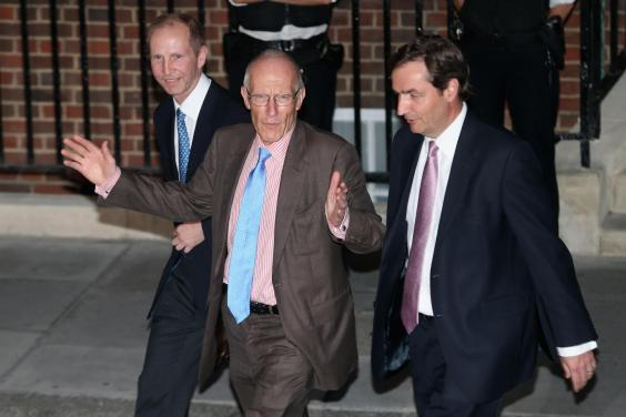 Royal gynaecologists Marcus Setchell (C) and Alan Farthing leave the Lindo Wing following the birth of the son of The Duke and Duchess of Cambridge at St Mary's Hospital on July 22, 2013 in London, England (Getty Images)