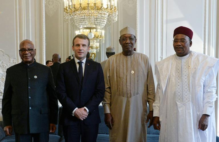 Receiving his counterparts from Mali, Chad and Niger at the Elysee Palace, President Macron said France is committed to helping their nations resolve regional conflict (AFP Photo/JOHANNA GERON)