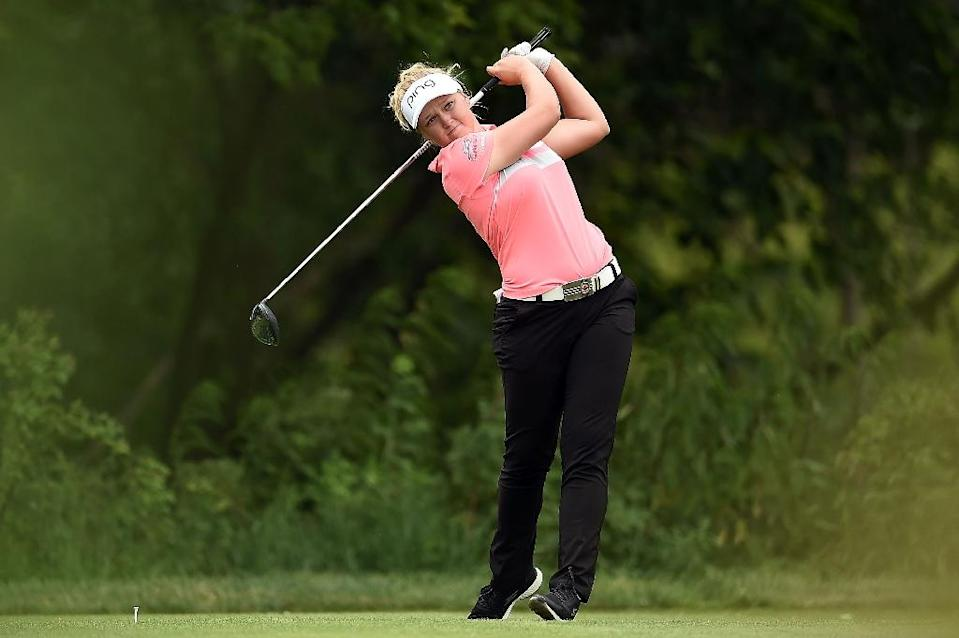 Brooke Henderson of Canada hits her tee shot on the eighth hole during the second round of the Meijer LPGA Classic, at Blythefield Country Club in Grand Rapids, Michigan, on June 16, 2017 (AFP Photo/Stacy Revere)